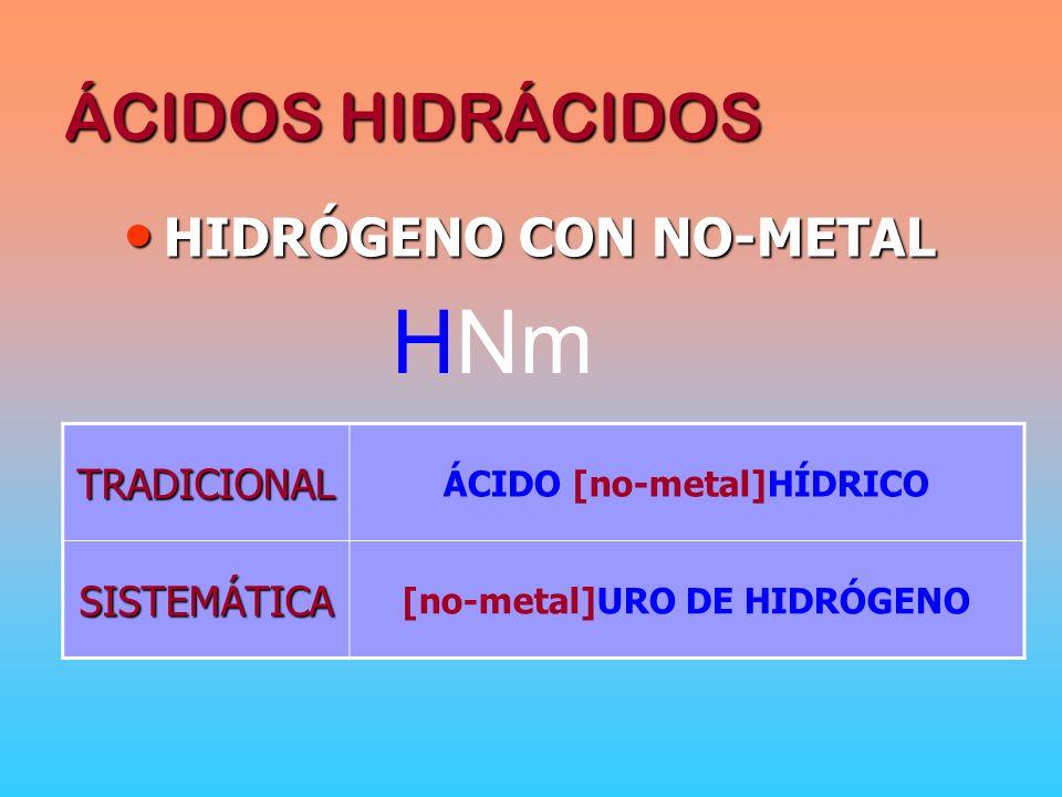 ÁCIDO [no-metal]HÍDRICO [no-metal]URO DE HIDRÓGENO
